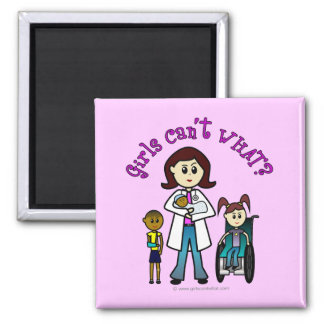 Light Doctor Girl Square Magnet