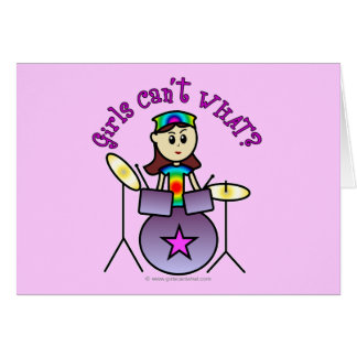 Light Drummer Girl Greeting Cards