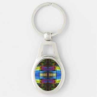 Light-Effect Sci-Fi Abstract Silver-Colored Oval Key Ring