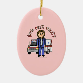 Light EMT Paramedic Girl Christmas Ornament