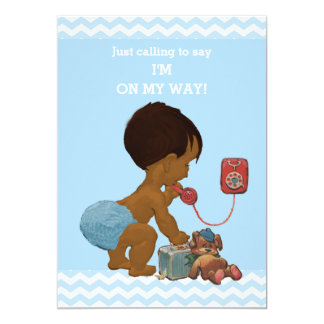 Light Ethnic Boy on Phone Baby Shower Chevrons 13 Cm X 18 Cm Invitation Card
