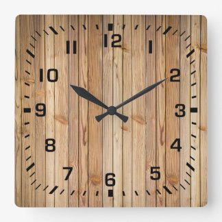 Light Faux Wood Paneling Square Wall Clock