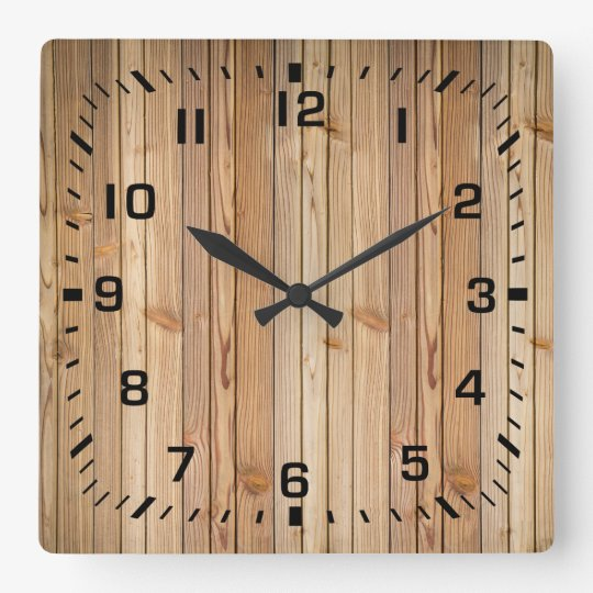 Light Faux Wood Panelling Square Wall Clock