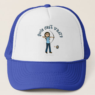 Light Female Archery in Blue Trucker Hat