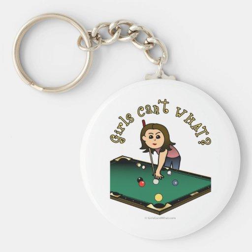 Light Female Billiards Player Key Chain