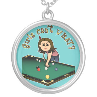 Light Female Billiards Player Silver Plated Necklace