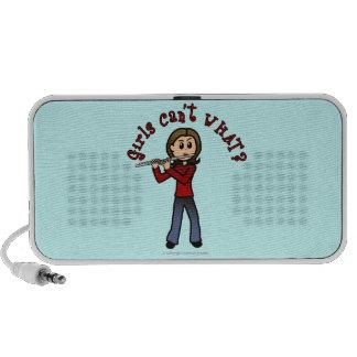 Light Female Flute Player iPod Speakers
