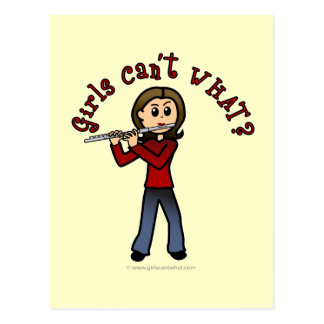 Light Female Flute Player Post Card
