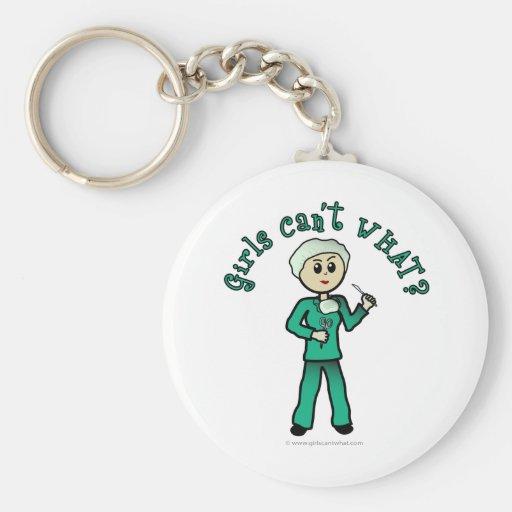 Light Female Surgeon in Green Scrubs Keychain