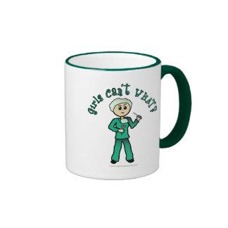 Light Female Surgeon in Green Scrubs Ringer Coffee Mug
