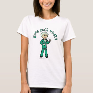 Light Female Surgeon in Green Scrubs T-Shirt
