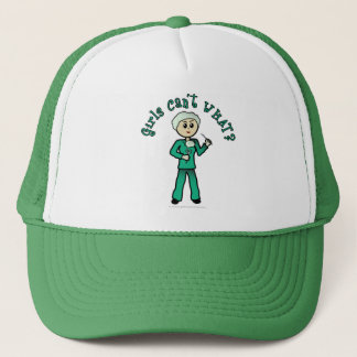Light Female Surgeon in Green Scrubs Trucker Hat