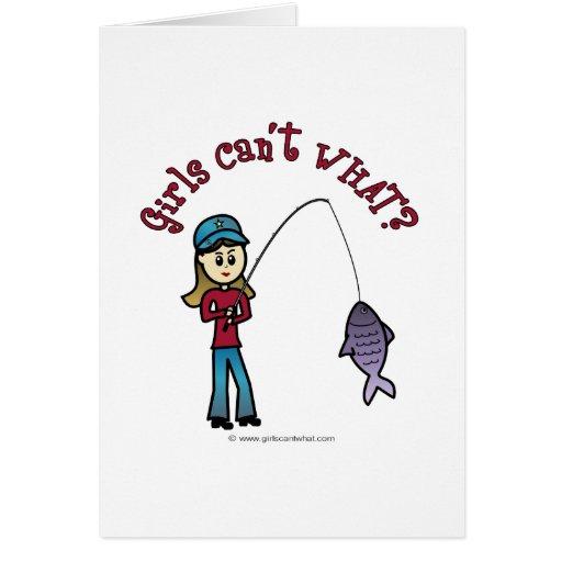 Light Fishing Girl Greeting Card