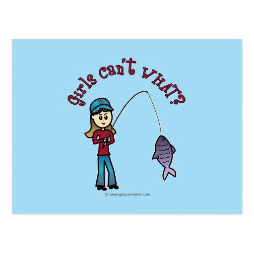 Light Fishing Girl Postcards