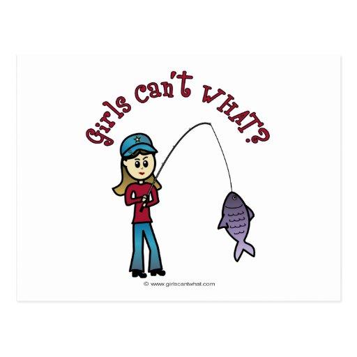 Light Fishing Girl Post Cards