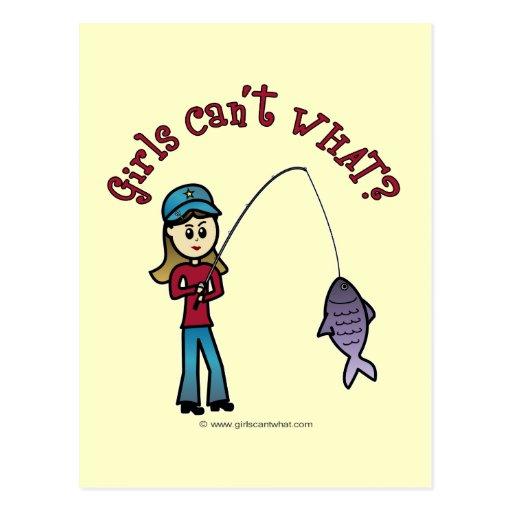 Light Fishing Girl Post Card