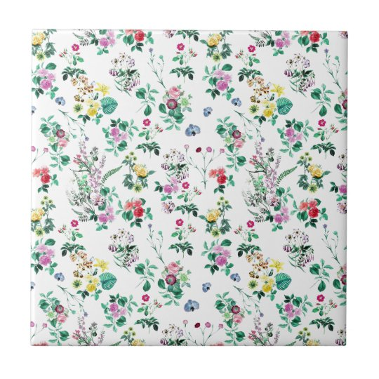 Light Floral Pattern Small Square Tile