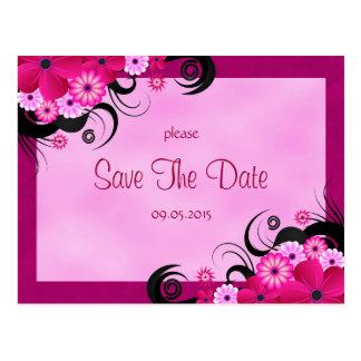 Light Fuchsia Floral Save The Date Announcement Postcard