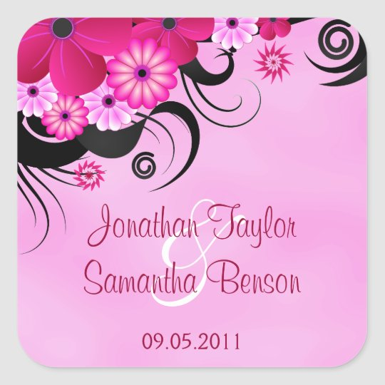 Light Fuchsia Floral Save The Date Favour Stickers