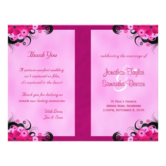 Light Fuchsia Floral Wedding Program Templates 21.5 Cm X 28 Cm Flyer