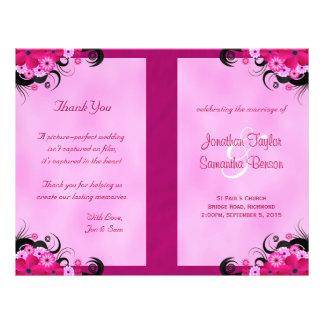 Light Fuchsia Floral Wedding Program Templates Flyer