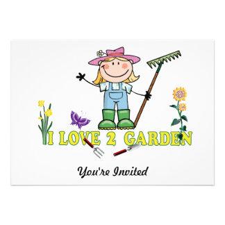 Light  Girl Farmer Blonde I Love 2 Garden Custom Invites