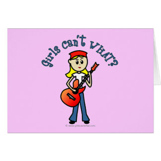 Light Girl Guitar Player Greeting Cards