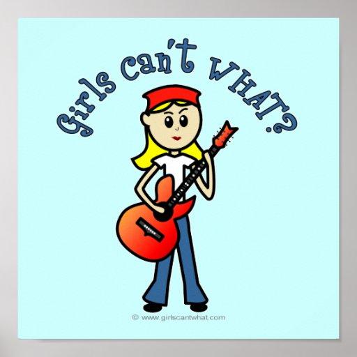 Light Girl Guitar Player Print