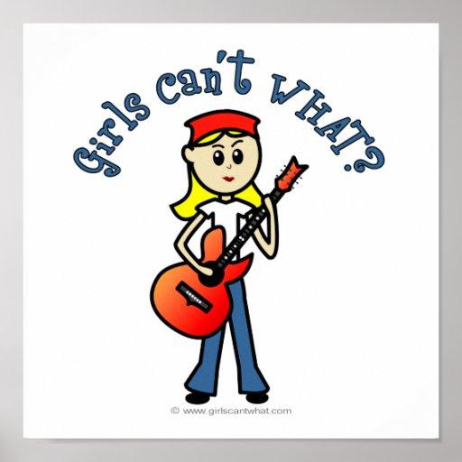 Light Girl Guitar Player Posters