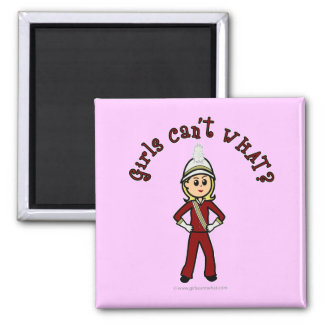 Light Girl in Red Marching Band Uniform Square Magnet