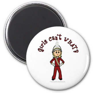 Light Girl in Red Marching Band Uniform 6 Cm Round Magnet