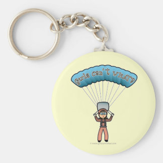 Light Girl Sky Diver Basic Round Button Key Ring