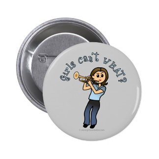 Light Girl Trumpet Player 6 Cm Round Badge