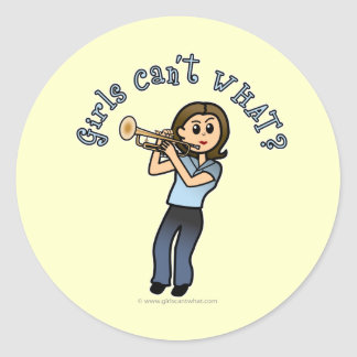 Light Girl Trumpet Player Classic Round Sticker