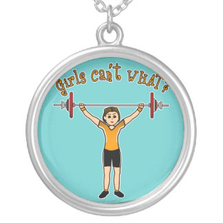 Light Girl Weightlifting Silver Plated Necklace