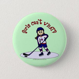 Light Girls Hockey Player 6 Cm Round Badge