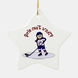 Light Girls Hockey Player Christmas Ornament