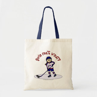 Light Girls Hockey Player Tote Bag