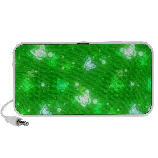 Light Glow Butterflies Bright Green Design Laptop Speakers