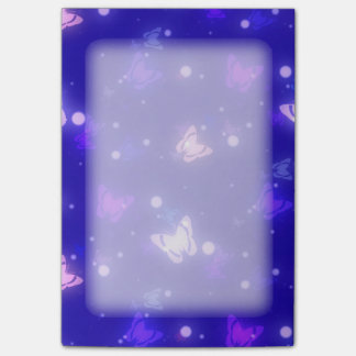 Light Glow Butterflies Dark Blue Design Post-it Notes