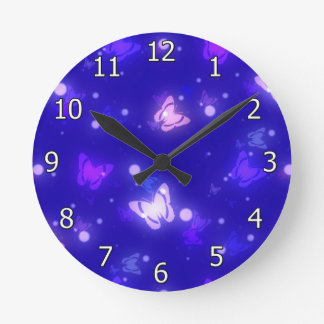 Light Glow Butterflies Dark Blue Design Round Clock