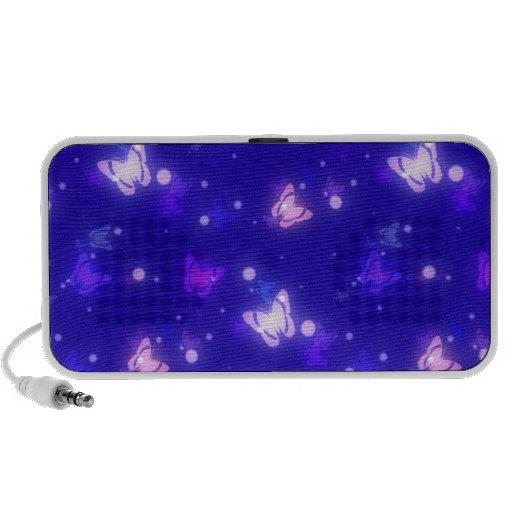 Light Glow Butterflies Dark Blue Design iPod Speakers