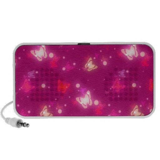 Light Glow Butterflies Magenta Pink Design Notebook Speakers