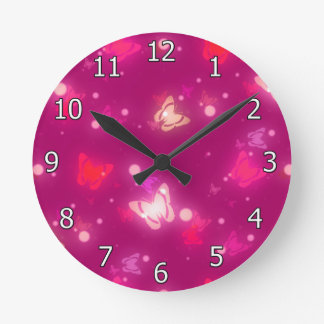 Light Glow Butterflies Magenta Pink Design Wall Clock