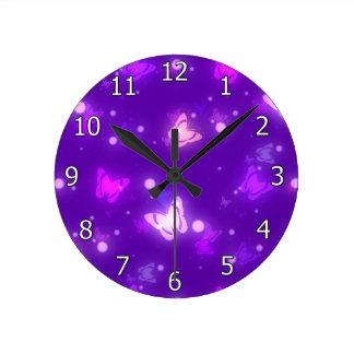 Light Glow Butterflies Violet Purple Design Wallclock