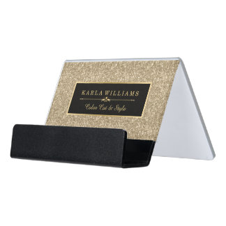 Light Gold Glitter Texture Black Accent Desk Business Card Holder