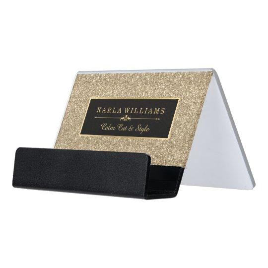 Light Gold Glitter Texture Black Accent Desk Business