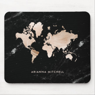 Light Gold World Map on Black Marble Mouse Mat