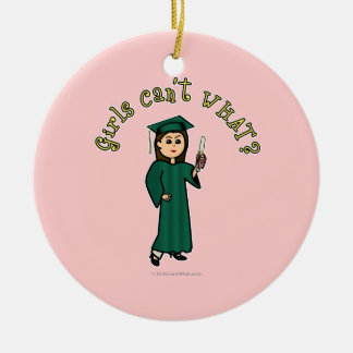 Light Graduate in Green Christmas Ornament