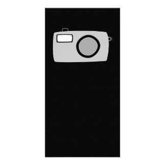 Light Gray and Black Camera On Black Picture Card
